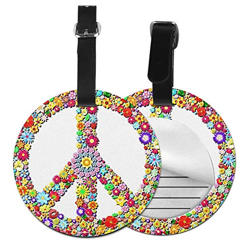 Luggage Tags Hippy Peace Flower 10 Suitcase Luggage Tags Business Card Holder Travel Id Bag Tag
