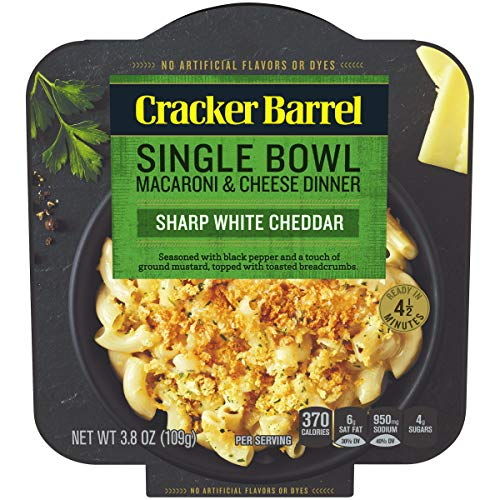 Cracker Barrel Single Bowl Sharp White Cheddar Macaroni and Cheese Dinner (3.8 oz Bowls, Pack of 6)