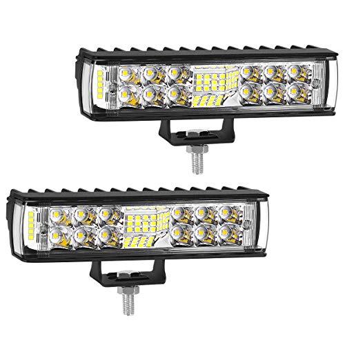 HAWEE 36W LED Arbeitslicht Nebelscheinwerfer Combo Lichtleiste Flutlicht LED Scheinwerfer Dreiseitige Bestrahlung LED Fahrlicht für Off-Road Motorrad 4x4 Traktor LKW ATV SUV UTV Boot, 2er-Pack