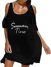 AmyDong Women's Dress, Women Off Shoulder Summer Letters Printed Robe Femme Loose Dress Beach Dress Oversized Casual Dress (XL, Black)