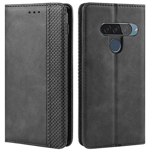 HualuBro Handyhülle für LG G8S ThinQ Hülle, Retro Leder Stoßfest Klapphülle Schutzhülle Handytasche LederHülle Flip Hülle Cover für LG G8S ThinQ Tasche, Schwarz