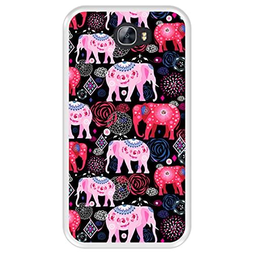 Funda Transparente para [ Huawei Y5 II - Y6 II Compact ] diseño [ Patrón Brillante de Elefantes Rosados y Rojos ] Carcasa Silicona Flexible TPU