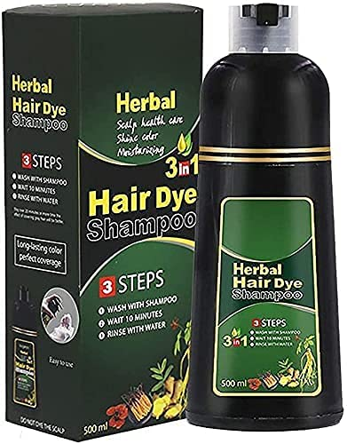 500ML 10 Mins Natural Herbal Hair Darkening Shampoo, 10Mins Instantly Restore Your Natural Hair Color, Hair Dye Shampoo 3 in 1