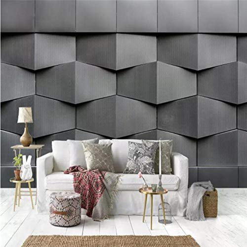Moderne 4D Muurpapieren voor Muren Cement,Doek Wallpapers Stereoscopisch Grijs Muur, Slaapkamer Woonkamer Decoratieve Wallpapers 208(W) x 146cm (H)