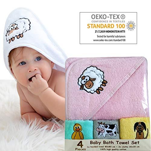 Bisoo Toalla Bebé Niña con Capucha - Set de Baño 4 Piezas con Capa de Baño 80x80 cm y 3 Paños 30x30 cm - 100% Algodón Turco 450 GSM - Regalo Original Recién Nacido Embarazada Baby Shower (Rosa)
