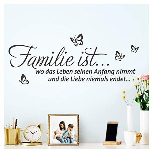 Grandora W5578 - Adhesivo decorativo para pared (80 x 31 cm), diseño con texto en alemán 'Familie ist wo das Leben I', color negro