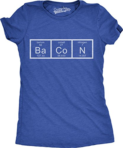 Womens Chemistry of Bacon T Shirt Funny Periodic Table Tee for Ladies (Blue) - L