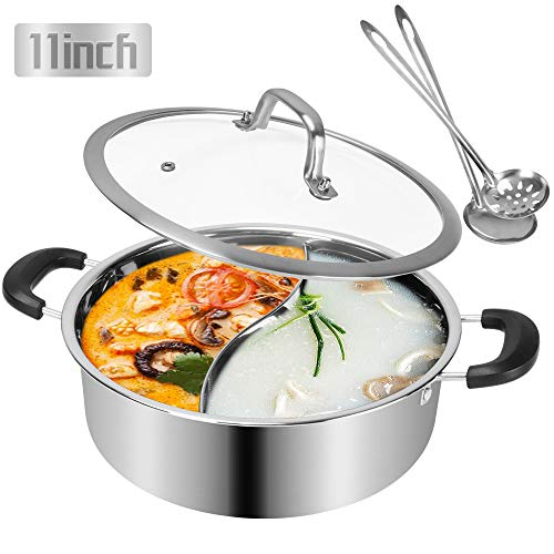 Shabu Hot Pot Stainless Steel,Chinese Induction Shabu Pot with Divider for Kitchen Cooker, Gas Stove