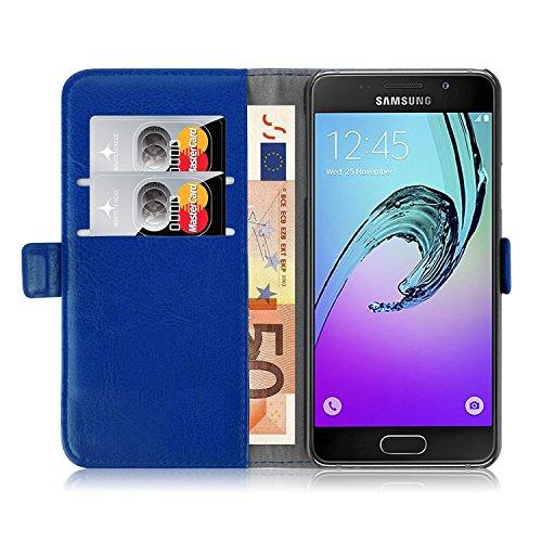 iPro Accessories Schutzhülle für Samsung Galaxy A3 2017, PU-Leder, stoßfest, Kunstleder, blau, Samsung Galaxy A3 2017