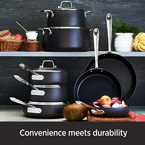 All-Clad E785S264 HA1 Hard Anodized Nonstick Dishwasher Safe PFOA Free 8 and 10-Inch Fry Pan Cookware Set, 2-Piece, Black