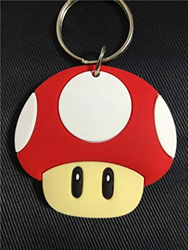 YUNMEI Super Mario Anhänger Super Supermario Mario Spiel Mario Pilzkopf Doppelseitige Schlüsselbund Kettenblatt Anhänger Geschenk