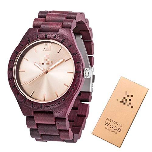 Relojes de Madera para Hombres, Relojes de Pulsera de Madera y bambú para Hombres, Correa de Madera, Reloj de Cuarzo, Regalo para el Marido, Caja de Regalo púrpura