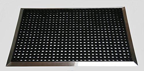 Edelstahlrahmen mit Fußmatten, Ringgummi-Matte 1300x900 mm, Gr. 5, Marke: Szagato (Fußabtreter, Türmatte, Schmutzfangmatte, Gummi)