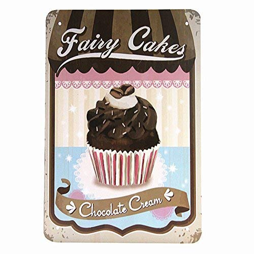 SIGNCHAT Fee Taarten Chocolade Crème Decor Koffie Bar Tin Teken Vintage Stijl Plaque Metalen Tin Teken 8X12 inch