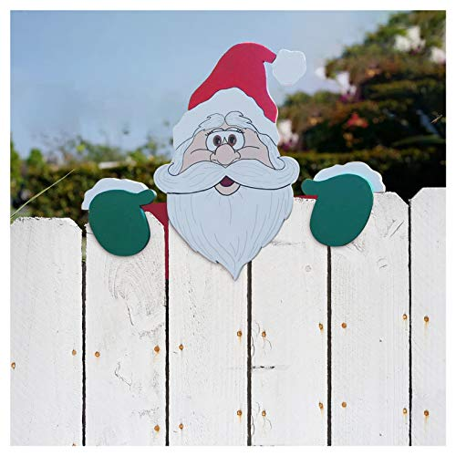 OFMWBN Christmas Themed Fence and Garden Peeker, 2Pcs Christmas Decorations Santa Claus and Reindeer Fence Peeker for Yard Art Garden Parking Fence Patio Outdoor, Xmas Holiday Home Decor (Santa-1PC)