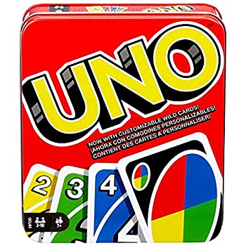 UNO Family Card Game with 112 Cards in a Sturdy Storage Tin Travel-Friendly Makes a Great Gift for 7 Year Olds and Up [Amazon Exclusive]