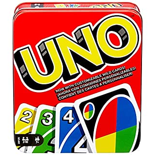 UNO Family Card Game, with 112 Cards in a Sturdy Storage Tin, Travel-Friendly, Makes a Great Gift for 7 Year Olds and Up [Amazon Exclusive] (B07P6MZPK3) | Amazon price tracker / tracking, Amazon price history charts, Amazon price watches, Amazon price drop alerts