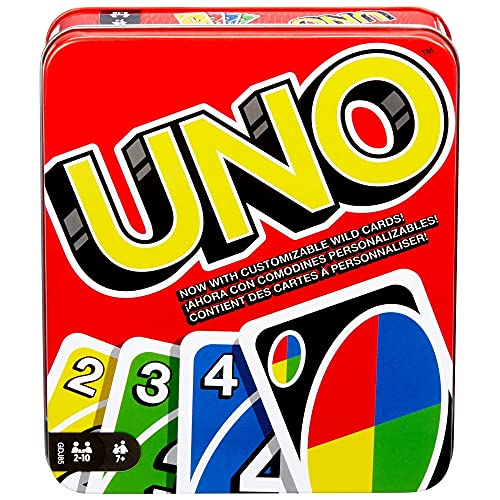 UNO Family Card Game, with 112 Cards in a Sturdy Storage Tin, Travel-Friendly, Makes a Great Gift for 7 Year Olds and Up [Amazon Exclusive]