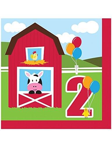 Creative Converting Farmhouse Fun Luncheon Napkin 2nd Bday (18) Farm Animal Barnyard Party