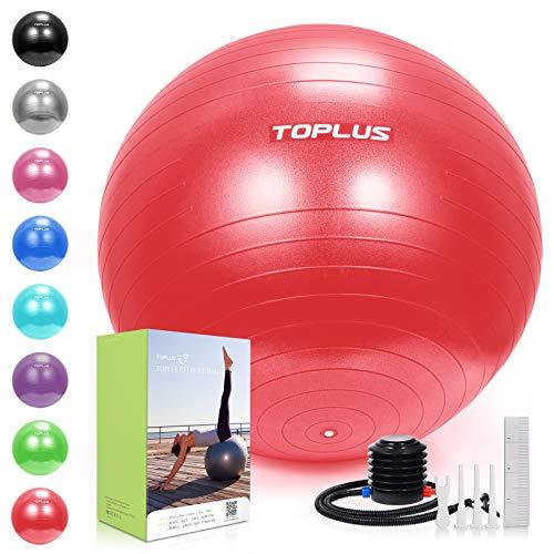 Toplus - Pelota de gimnasia extra gruesa para yoga, pelota de estabilidad, para un uso más alto, balón de equilibrio con bomba rápida y 65 cm