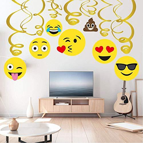 Sayala 30Piezas Emoji-Icon Smiley Face Decoraciones de cumpleaños, Emoji Decoraciones de feliz cumpleaños Niñas Niños Niños Adultos Adolescente Fiesta de cumpleaños Kit de suministros