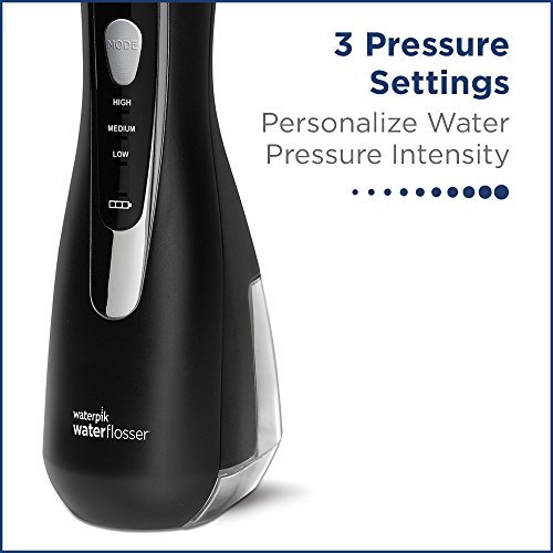 Waterpik Cordless Advanced Water Flosser with 3 Pressure Settings, Dental Plaque Removal Tool Ideal for Travel or Small Bathrooms with Rechargeable Battery, Black (WP-562UK)