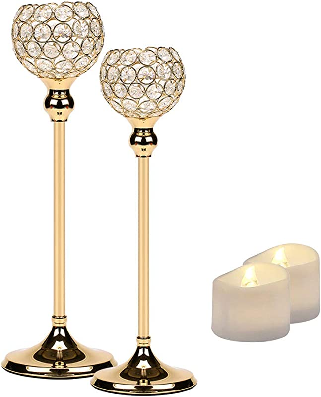 Manvi Gold Crystal Candle Holders Set Of 2 For Table Tall Taper Tealight Candlestick Holder For Wedding Kitchen Dinner Tabletop Centerpieces Decorative Christmas Thanksgiving Gifts