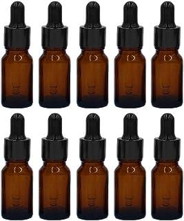 MINGZE 10 piezas Cuentagotas de botellas de vidrio para aceites esenciales botellas de vidrio recargables vacías de 20 m...