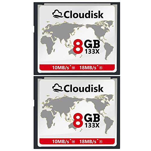 Cloudisk 2X CF Karte 8 GB Compact Flash Speicherkarte Leistung für Vintage Digitalkamera (2PACK 8GB 133X)