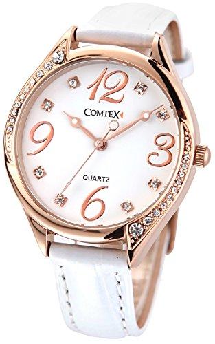 Comtex Modische Damen-Armbanduhr Analog Quarz Weiß Zifferblatt Armbanduhr