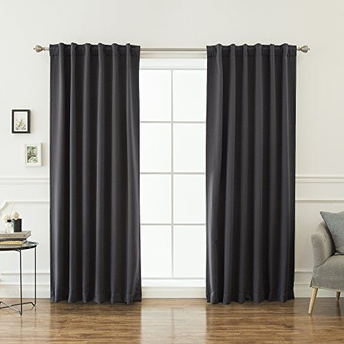 """Best Home Fashion Basic Thermal Insulated Blackout Curtains - Back Tab/ Rod Pocket - Dark Grey - 52"""" W x 96"""" L – Tie Backs Included (Set of 2 Panels)"""