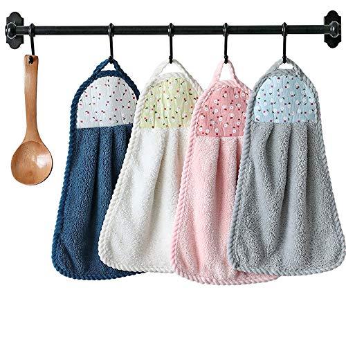 4 asciugamani da appendere per asciugare le mani, spesso in velluto corallo, asciugamano ad asciugatura rapida, panno morbido per cucina, bagno (24 x 39 cm)