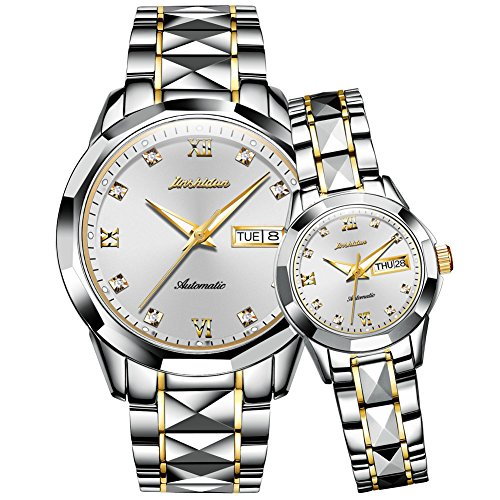 JSDUN Couples Automatic Watches for Men and Women His Hers Tungsten Steel Sapphire Mechanical Self Winding Big Face Dress Wrist Watch Waterproof with Day Date Calendar Pyramid Bezel Two Tone Silver
