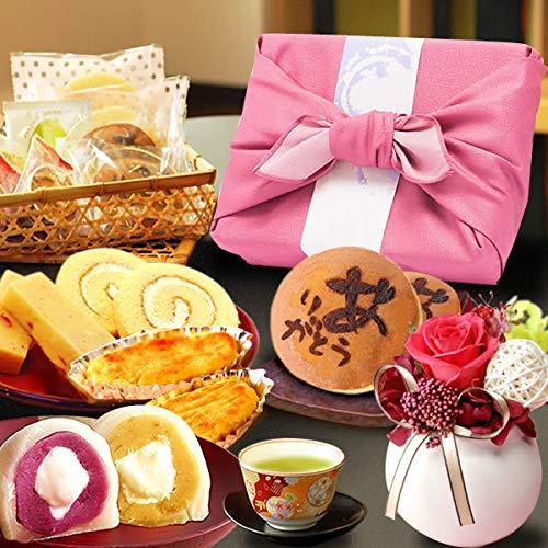 誕生日 の プレゼント 人気商品 花 バラ おいもや どら焼き お菓子 花とスイーツ お祝いギフト プリザーブドフラワー アレンジメント (白色プリザーブドフラワー)