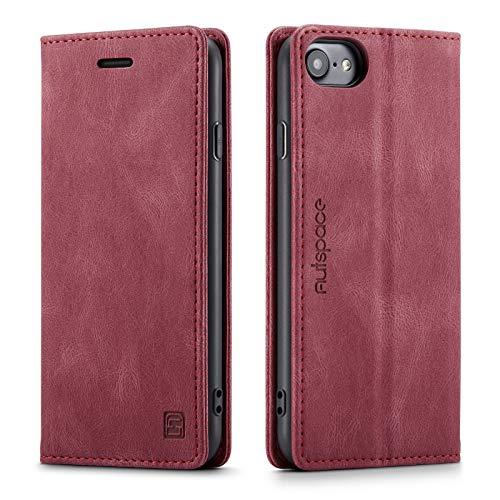 LOLFZ Hülle für iPhone 7 iPhone 8 iPhone SE 2020 iPhone 6 iPhone 6S, Vintage Dünne Leder Handyhülle mit RFID Schutz Kartenfach Ständer Magnetische Flip Schutzhülle - Rot