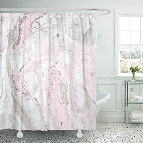 Emvency Rideau de douche rose féminin abstrait encre marbre gris artistique toile polyester imperméable 152,4 x 182,9 cm Ensemble avec crochets