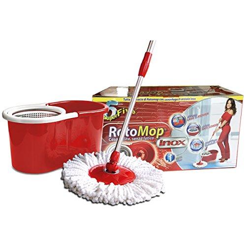 Superfive - Rotomop mop rotativo inoxidable base de microfibra con cubo strizzante mop roto