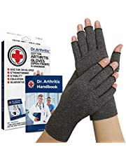 Medisch Ontwikkelde Artritis compressie Handschoenen + Dokter's Handboek: Verlicht Artritis Symptomen, Raynauds Ziekte & Carpaal Tunnel [paar] (L)