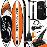 KESSER® Aufblasbare SUP Board Set Stand Up Paddle Board | 320x76x15cm 10.6' | Premium Surfboard Wassersport | 6 Zoll Dick | Komplettes Zubehör | 130kg, Orange
