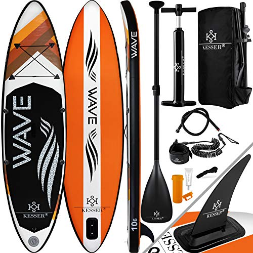 KESSER® Aufblasbare SUP Board Set Stand Up Paddle Board | 380x76x15cm 12.6'...