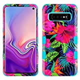 TUFF Hybrid Series Compatible with Samsung Galaxy S10, Military Grade Drop Tested Protector Cover Phone Case and Atom Cloth - Pink Tropical Flowers