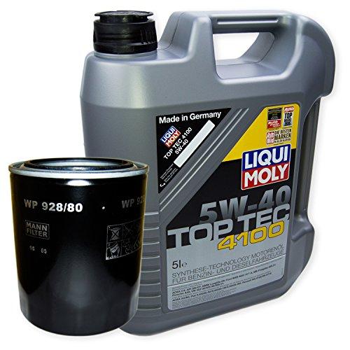 LIQUI MOLY Top Tec 4100 5W-40 3701 + MANN FILTER Ölfilter WP 928/80