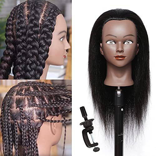 """Mannequin Head with Human Hair 16""""100% Real Hair Cosmetology Mannequin Manikin Training Head Hair Hairdresser Styling Mannequin Head for Practice Braiding Doll Head with Free Clamp(C16)"""