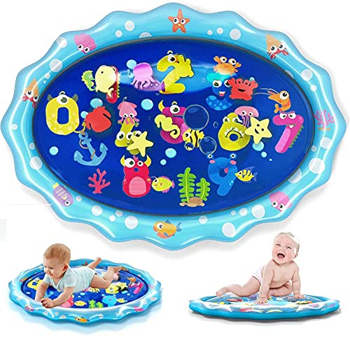 """heytech Tummy Time Mat Large Size Baby Water Play Mat Mat 33.5""""X24"""" Infant Toy Inflatable Play Mat for 3 6 9 Months Newborn Boy Girl"""