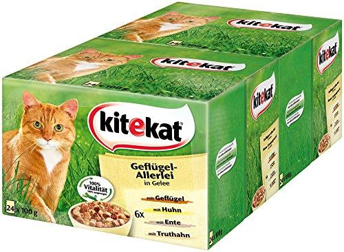 Kitekat Katzenfutter Geflügel-Allerlei in Gelee, 48 Beutel (2 x 24 x 100 g)