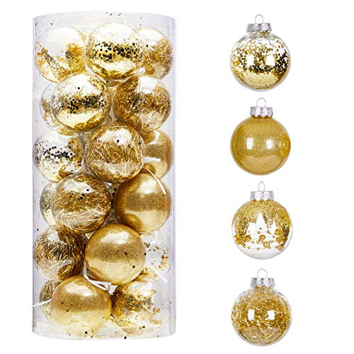 24ct 70mm/2.76' Clear Christmas Ball Ornaments, Shatterproof Plastic Christmas Tree Ornaments Baubles with Stuffed Decorations, Hanging Balls for Xmas and New Year Holiday Home Party Decor, Gold