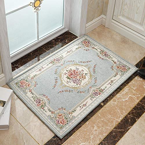 Ahuike Waterabsorberende badkamer tapijt matten deurmatten pads jacquard stofzuiger wasbaar tapijt badmat voor wastafel toilet blauw 90 × 140cm