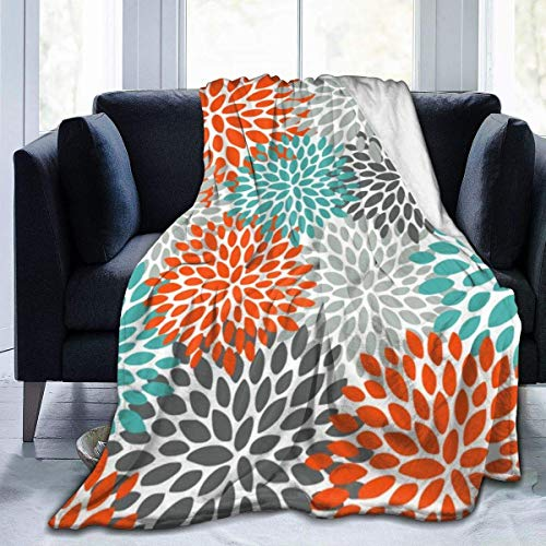 keben Manta de forro polar de franela suave, diseño floral, color naranja, verde azulado y gris, para sofá, silla, oficina, viajes, camping, manta cálida decorativa moderna, 60 x 50