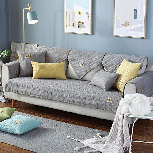 YUTJK Fundas de Almohada cuadradas Funda de sofá, Suaves para el sofá, el Dormitorio y el Coche,Puede ser Alfombra,Cojín de sofá Monocromo de Chefney,Gris_90×180 cm