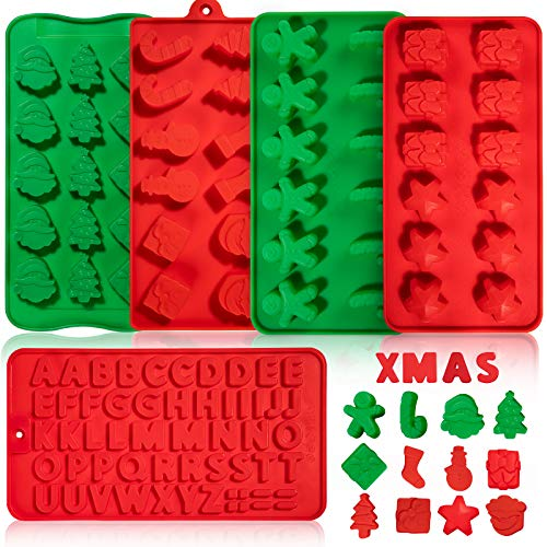 Whaline 5 Pack Christmas Silicone Molds Chocolate and Candy Mold Small Baking Mold for Cake Topper Ice Cubes Gingerbread Santa Stick Gift Box Letter Xmas Tree Sock Shape for Party Decor, Red Green